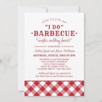 i do bbq red gingham wedding couples shower invitation
