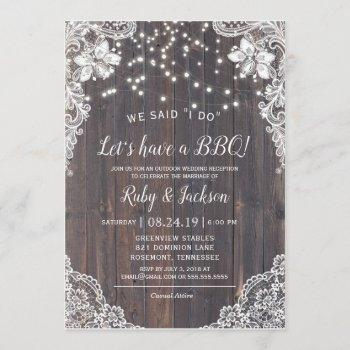 i do bbq rustic lace & string lights reception invitation