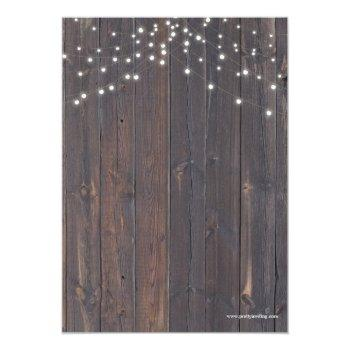 Small I Do Bbq Rustic Lace & String Lights Reception Invitation Back View