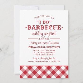 i do bbq rustic red gingham wedding reception invitation