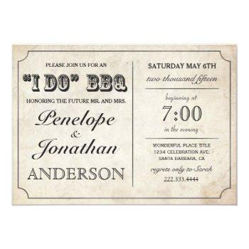 i do bbq rustic vintage wedding invitations