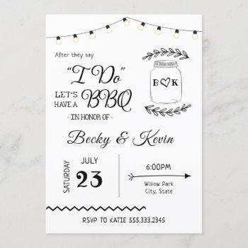 i do bbq wedding reception invitation