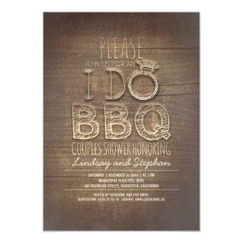 i do bbq wooden couples shower invitation