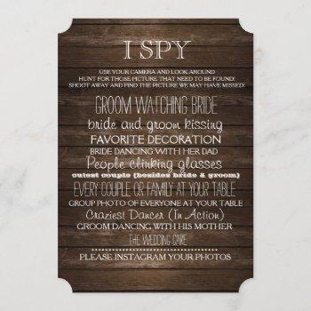i spy wedding game wood rustic photography invitation