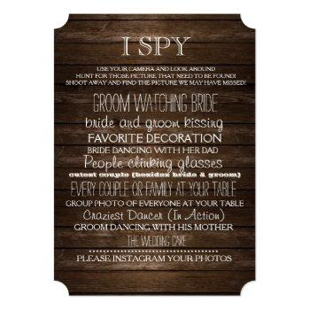 i spy wedding game wood rustic photography invitation