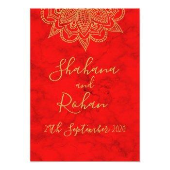 indian style red gold colored modern chic wedding invitation