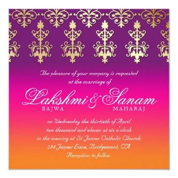 indian wedding invite damask pink purple orange