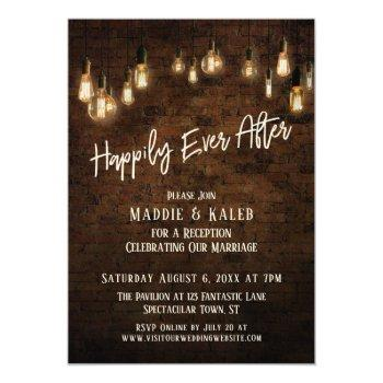 industrial brick edison lights happily ever after invitation