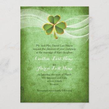 irish clover green saint patrick's day wedding invitation