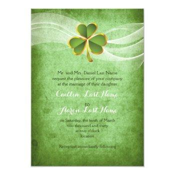 irish clover green saint patrick's day wedding invitation