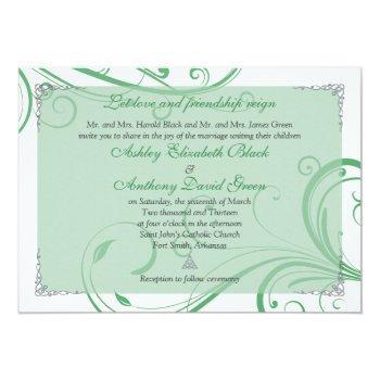 Small Irish Green White Celtic Wedding Invitation Front View