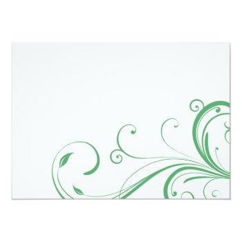 Small Irish Green White Celtic Wedding Invitation Back View