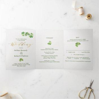 irish shamrock & celtic knot, rsvp, eco wedding tri-fold invitation