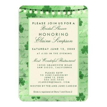 irish shamrocks and string lights invitation