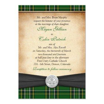 irish tartan celtic claddagh lucky in love wedding invitation