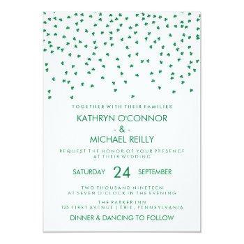 Small Irish Theme Wedding Shamrock Confetti On White Invitation Front View