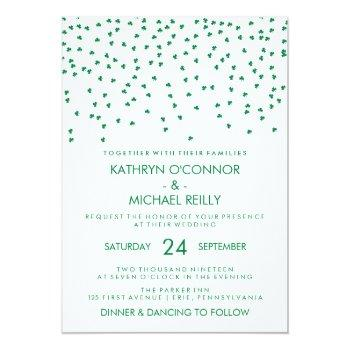 irish theme wedding shamrock confetti on white invitation