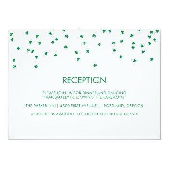 Small Irish Theme Wedding Shamrock Confetti | Reception Invitation Front View