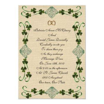 irish wedding invitation unity knot