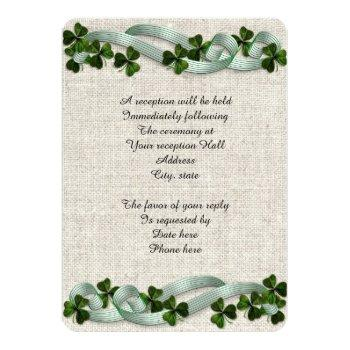 Small Irish Wedding Invitations Linen Elegant Back View