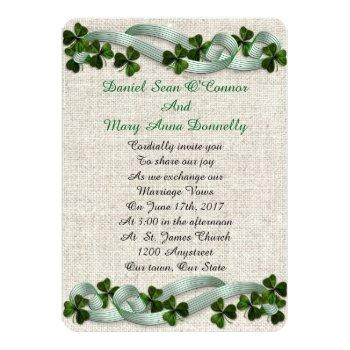 Small Irish Wedding Invitations Linen Elegant Front View