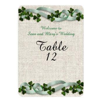 Small Irish Wedding Table Cards Linen Elegant Back View