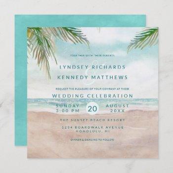 island breeze ocean beach scene wedding square invitation