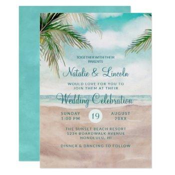 island breeze painted beach scene seashore wedding invitation