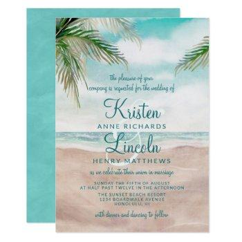 island breeze painted beach scene tropical wedding invitation