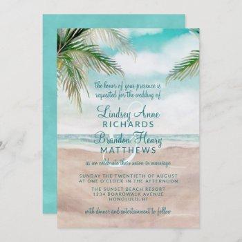 island breeze painted beach scene wedding invitation