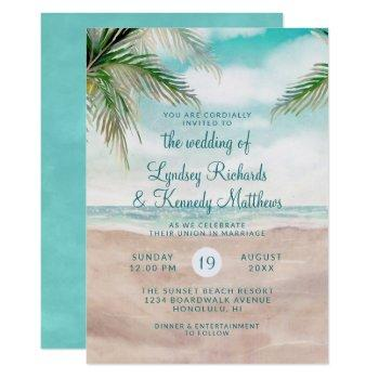 island breeze palm trees beach scene wedding invitation