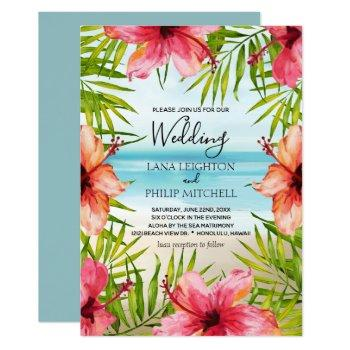 island paradise tropical palms and flowers wedding invitation