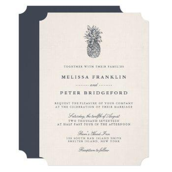 island vintage pineapple wedding invitation