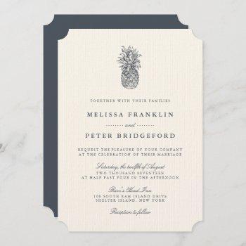 island vintage pineapple wedding invitation