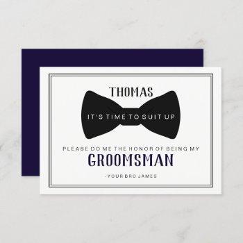 it's time to suit up groomsman - black tie blue invitation