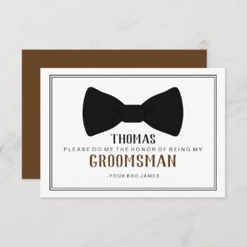 it's time to suit up groomsman - black tie brown invitation
