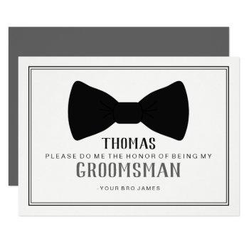 it's time to suit up groomsman - black tie grey invitation