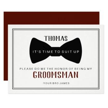 it's time to suit up groomsman - black tie wine invitation