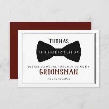 it's time to suit up groomsman - black tie wine invitation