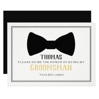 it's time to suit up groomsman card - black tie