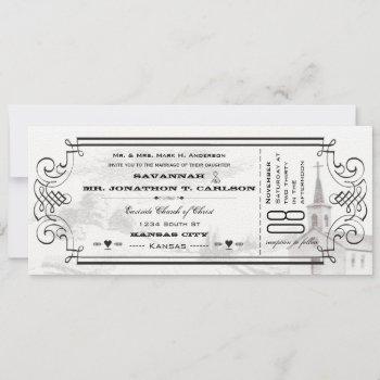 ivory background black font chapel ticket wedding invitation