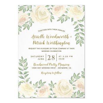 ivory blush champagne floral wedding invitations