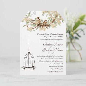 ivory cherry blossom lovebird birdcage wedding invitation