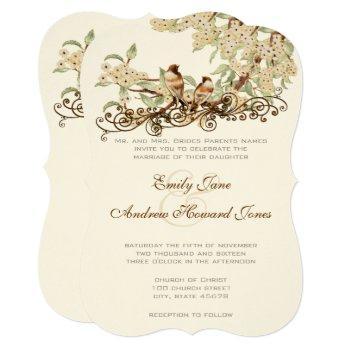 ivory cherry blossom vintage love birds wedding invitation