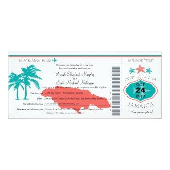 jamaica boarding pass wedding invitation