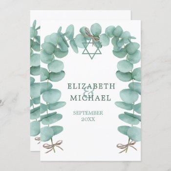 jewish wedding chuppah eucalyptus foliage green invitation