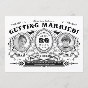 kids photo wedding invitations | vintage retro