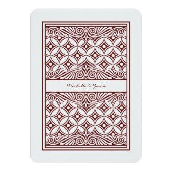 Small King Queen Playing Card Invitation Back View