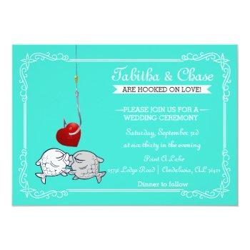 Small Kissing Fish Wedding Invitations Front View