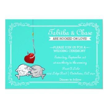 kissing fish wedding invitations